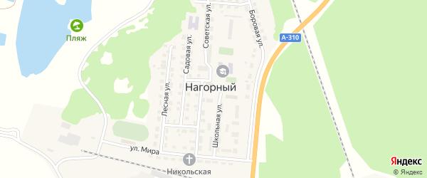 Солнечная улица на карте Нагорного поселка с номерами домов
