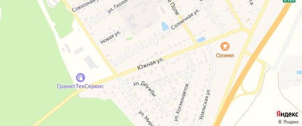 Южная улица на карте села Еманжелинки с номерами домов
