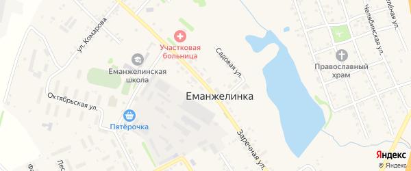 Заречная улица на карте села Еманжелинки с номерами домов