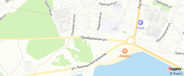 Прибрежная улица на карте Челябинска с номерами домов
