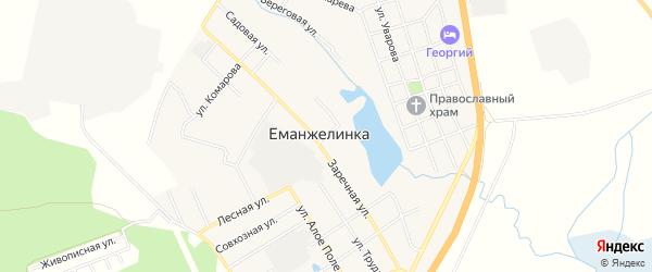 Карта села Еманжелинки в Челябинской области с улицами и номерами домов