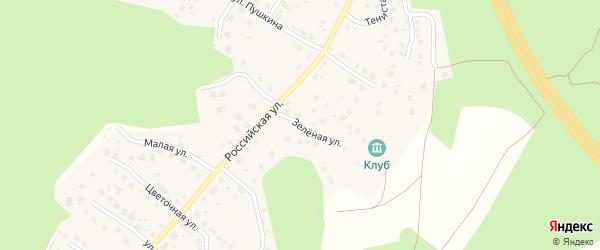 Зеленая улица на карте поселка Рощино с номерами домов