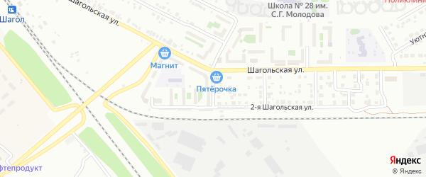Шагольский 1-й переулок на карте Челябинска с номерами домов
