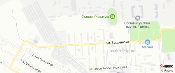 Территория ГСК 508 по ул Бурденюка блок 10 на карте Челябинска с номерами домов