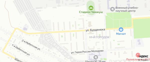 Улица Бурденюка на карте Челябинска с номерами домов