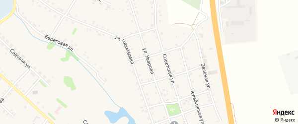 Улица Уварова на карте села Еманжелинки с номерами домов