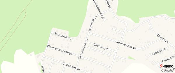 Восточная улица на карте поселка Рощино с номерами домов