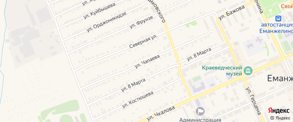 Улица Чапаева на карте Еманжелинска с номерами домов