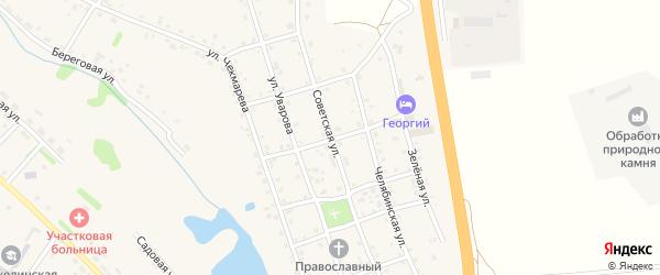 Советская улица на карте села Еманжелинки с номерами домов