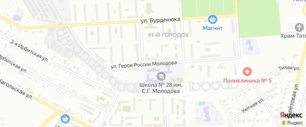 Улица Героя России Молодова на карте Челябинска с номерами домов