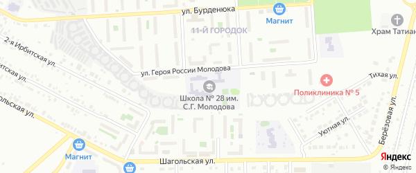 Территория ГСК 508 за школой по ул Молодова блок 13 на карте Челябинска с номерами домов
