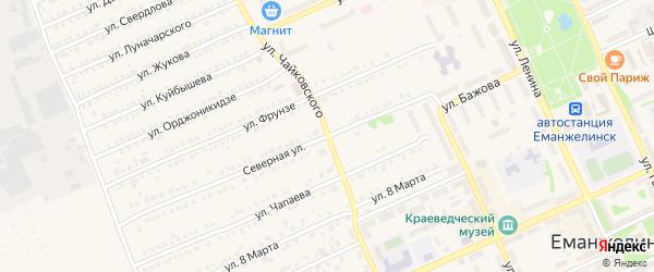 Улица Чайковского на карте Еманжелинска с номерами домов