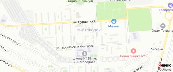 Территория ГСК 508 за школой по ул Молодова блок 14 на карте Челябинска с номерами домов