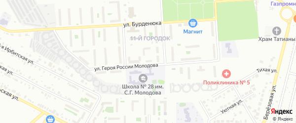 Территория ГСК 508 за школой по ул Молодова блок 16 на карте Челябинска с номерами домов