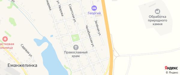 Челябинская улица на карте села Еманжелинки с номерами домов