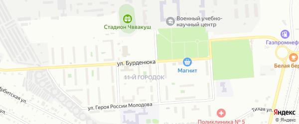 11-й городок на карте Челябинска с номерами домов