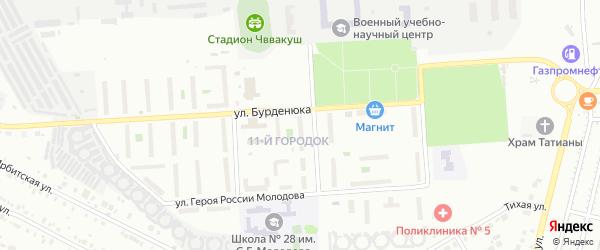 Территория ГСК 508 по ул Бурденюка блок 11 на карте Челябинска с номерами домов