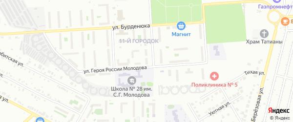 Территория ГСК 508 за школой по ул Молодова блок 12 на карте Челябинска с номерами домов