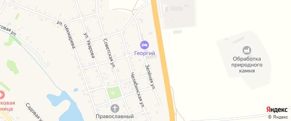 Зеленая улица на карте села Еманжелинки с номерами домов
