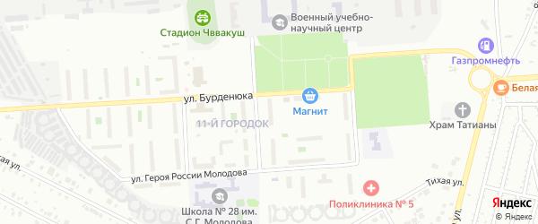 Территория ГСК 508 по ул Бурденюка блок 9 на карте Челябинска с номерами домов