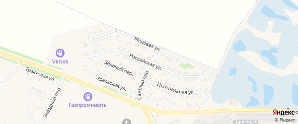 Российская улица на карте Еманжелинска с номерами домов