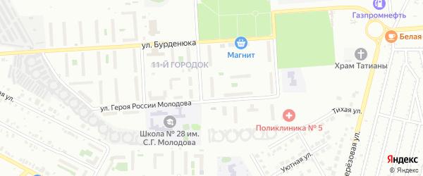 Территория ГСК 508 по ул Молодова блок 8 на карте Челябинска с номерами домов