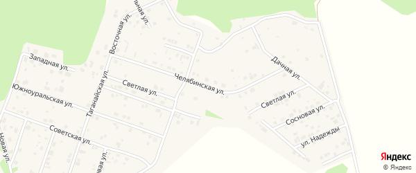 Челябинская улица на карте поселка Рощино с номерами домов