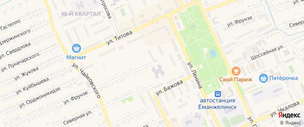 Улица Фрунзе на карте Еманжелинска с номерами домов