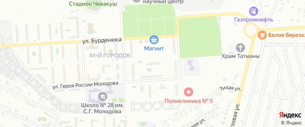 Территория ГСК 508 по ул Молодова блок 6 на карте Челябинска с номерами домов