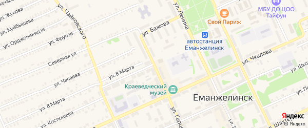 Улица 8 Марта на карте Еманжелинска с номерами домов