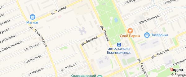 Улица Бажова на карте Еманжелинска с номерами домов