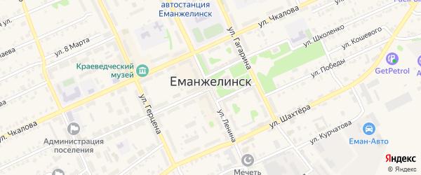 Промышленная площадка Южная улица на карте Еманжелинска с номерами домов