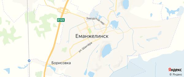 Карта Еманжелинска с районами, улицами и номерами домов