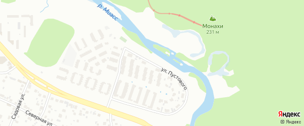 Улица Пустового на карте Челябинска с номерами домов