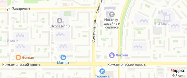 Солнечная улица на карте Челябинска с номерами домов