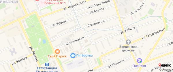 Шоссейная улица на карте Еманжелинска с номерами домов