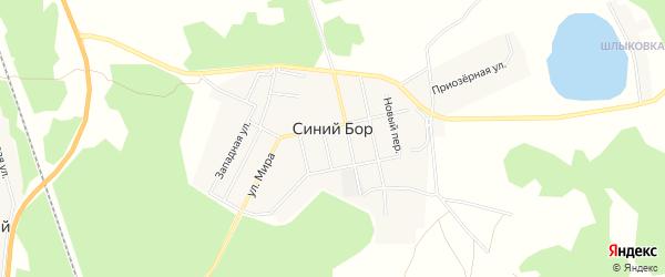 Карта поселка Синего Бора в Челябинской области с улицами и номерами домов