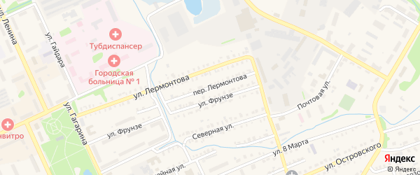 Переулок Лермонтова на карте Еманжелинска с номерами домов