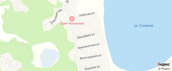 Вишневая улица на карте Увельского поселка с номерами домов