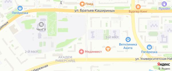 Улица Наркома Малышева на карте Челябинска с номерами домов