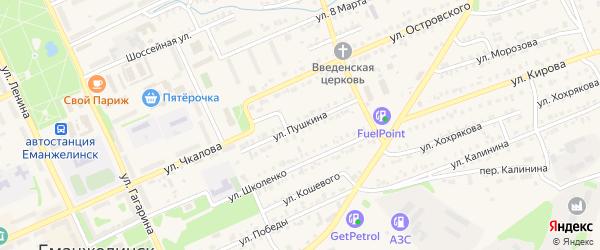 Улица Пушкина на карте Еманжелинска с номерами домов