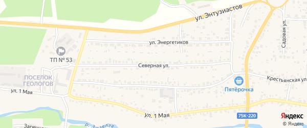 Северная улица на карте Долгодеревенского села с номерами домов