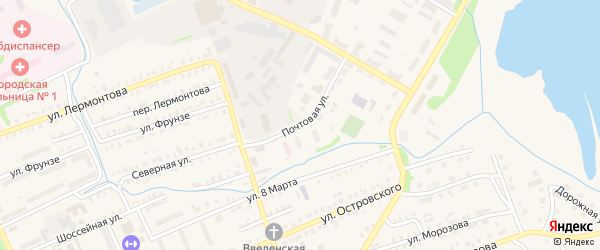 Почтовая улица на карте Еманжелинска с номерами домов