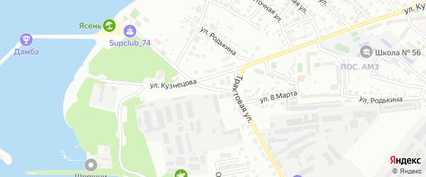 Митрофановское шоссе на карте Челябинска с номерами домов