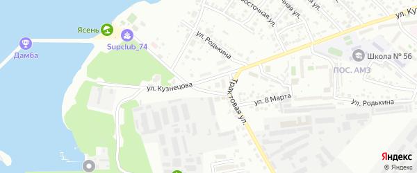 Территория ГСК 205 филиал по ул Кузнецова 45 на карте Челябинска с номерами домов