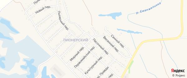 Песочный переулок на карте Еманжелинска с номерами домов