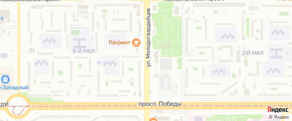 Улица Молодогвардейцев на карте Челябинска с номерами домов