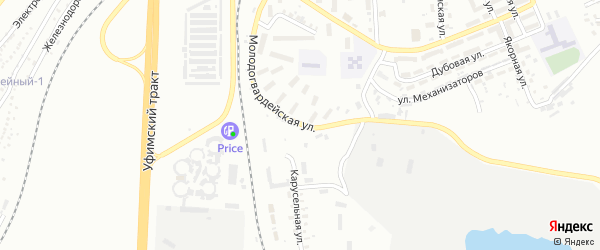 Молодогвардейская улица на карте Челябинска с номерами домов