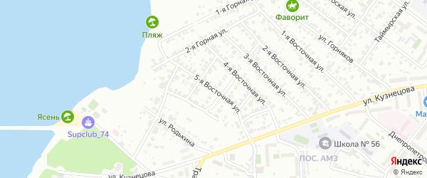 Восточная 5-я улица на карте Челябинска с номерами домов