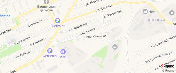 Переулок Калинина на карте Еманжелинска с номерами домов